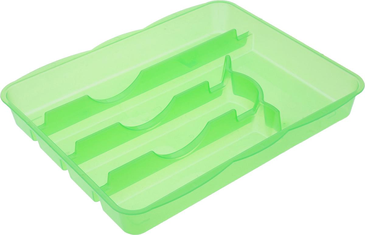 Лоток для столовых приборов Альтернатива, 5 отделений, 31,5 х 26 х 4 смM1067_зеленыйЛоток для столовых приборов Альтернатива изготовлен из высококачественного пищевого пластика. Он предназначен для выдвигающихся ящиков на кухне. Лоток имеет пять отделений: три отделения для вилок, ложек, ножей, одно маленькое отделение для чайных ложек и десертных вилок, одно большое отделение для остальных приборов.Размер отделений: Размер большого отделения: 30,5 х 5,5 см.Размер средних отделений: 22,5 см х 5,5 см.Размер маленького отделения: 17,5 х 8 см.Общий размер лотка: 31,5 х 26 х 4 см.