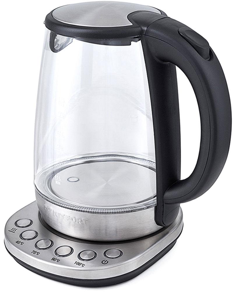 Kitfort КТ-618 чайник электрическийКТ-618Электрический чайник с терморегулятором Kitfort КТ-618 может не только вскипятить воду, но и нагреть ее дотемпературы 40, 70 и 90 °С, что очень удобно при заваривании различных сортов чая. Температура 40 °Спригодится для приготовления детского питания. Чайник также оснащен функцией поддержания температуры.Температура воды контролируется встроенным в дно чайника термодатчиком.Корпус чайника Kitfort КТ-618 выполнен из стекла, а крышка и подставка — из сочетания пластмассы инержавеющей стали. Мерная шкала нанесена на прозрачную часть корпуса. Большое горлышко чайника облегчаетдоступ внутрь при его мойке и во время удаления накипи. Ручка чайника пластиковая, не нагревается и удобнолежит в руке. Кнопка открывания крышки расположена сверху на ручке. При включении чайника загорается синяяподсветка, которая является индикатором работы и художественно подсвечивает кипящую воду.Нагревательный элемент (ТЭН) у этой модели чайника скрытый и находится в дне. Сверху он закрыт специальнойметаллической пластиной из нержавеющей стали, благодаря которой исключается прямой контакт ТЭНа с водой.Такая конструкция препятствует образованию накипи, облегчает уход и значительно снижает шум принагревании воды.Подставка с центральным контактом дает возможность ставить чайник на нее в любом положении, обеспечиваявращение на 360°. Снизу имеется отсек для хранения шнура, в который можно смотать излишки шнураэлектропитания, чтобы он не мешался на столе. На подставке расположены кнопки для включения и выключениячайника, установки режимов работы и выбора температуры. Все кнопки со световой индикацией, позволяющейлегко определить, какой режим сейчас активен. При закипании, изменении режимов работы, а также приустановке и снятии чайника с подставки прозвучит сигнал.Чайник автоматически отключается при закипании и при снятии его с подставки, имеет защиту от перегрева изащиту от включения без воды.