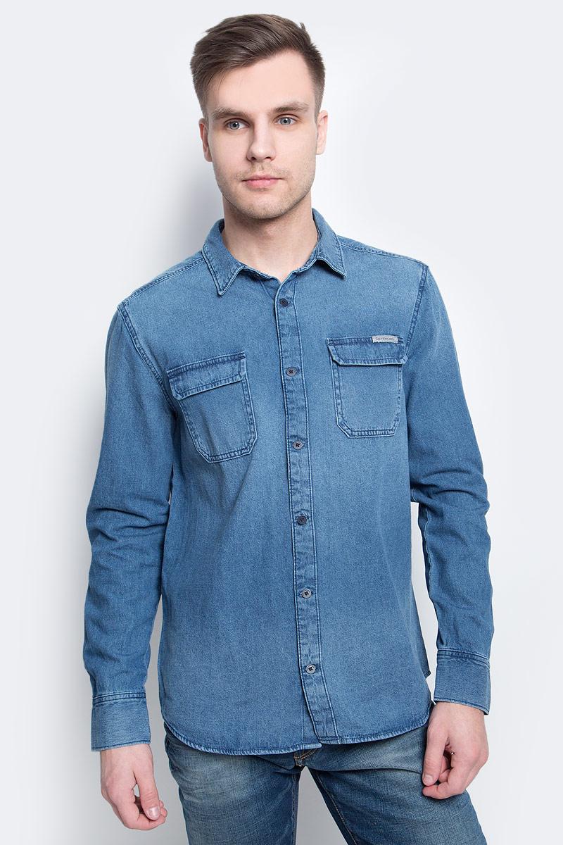 Рубашка мужская Calvin Klein Jeans, цвет: синий. J30J304941. Размер XL (50/52) куртка мужская calvin klein jeans цвет синий j30j306966 4020 размер xl 50 52