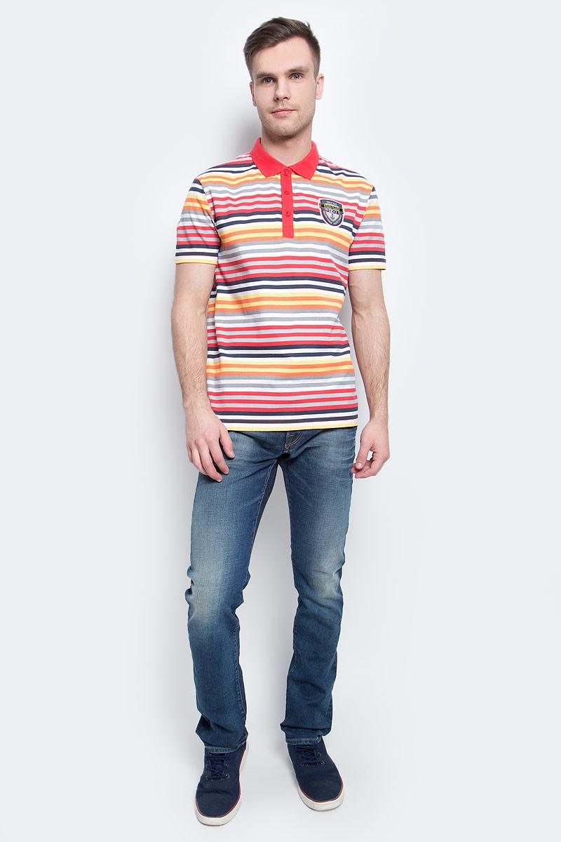 Поло мужское Finn Flare, цвет: красный. S17-24037_300. Размер M (48) поло мужское finn flare цвет светло серый b17 21029 211 размер l 50
