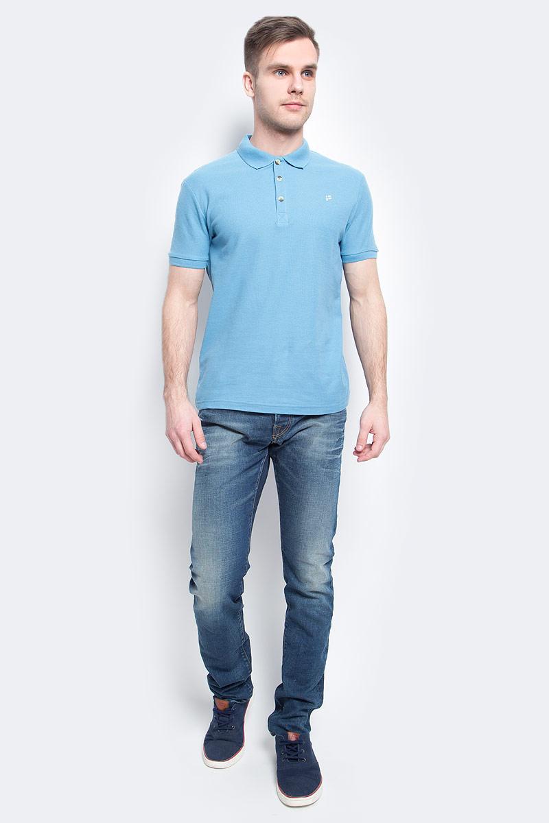 Поло мужское Finn Flare, цвет: голубой. S17-21024_139. Размер XXL (54)S17-21024_139Поло мужское Finn Flare выполнено из натурального хлопка. Модель с отложным воротником и короткими рукавами.