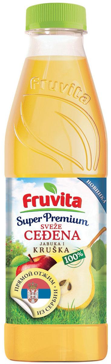 Fruvita Superpremium Из яблок и груш фруктовый сок прямого отжима, 750 мл8606107032689Сок фруктовый прямого отжима из яблок и груш Fruvita – 100% сок высшего качества! Fruvita – это один из самых современных отечественных заводов по переработке фруктов и производству фруктовых соков. Соки производятся в цехе Колари методом холодной экстракции. Сок производится без добавления сахара, консервантов, красителей, ароматизаторов, воды.