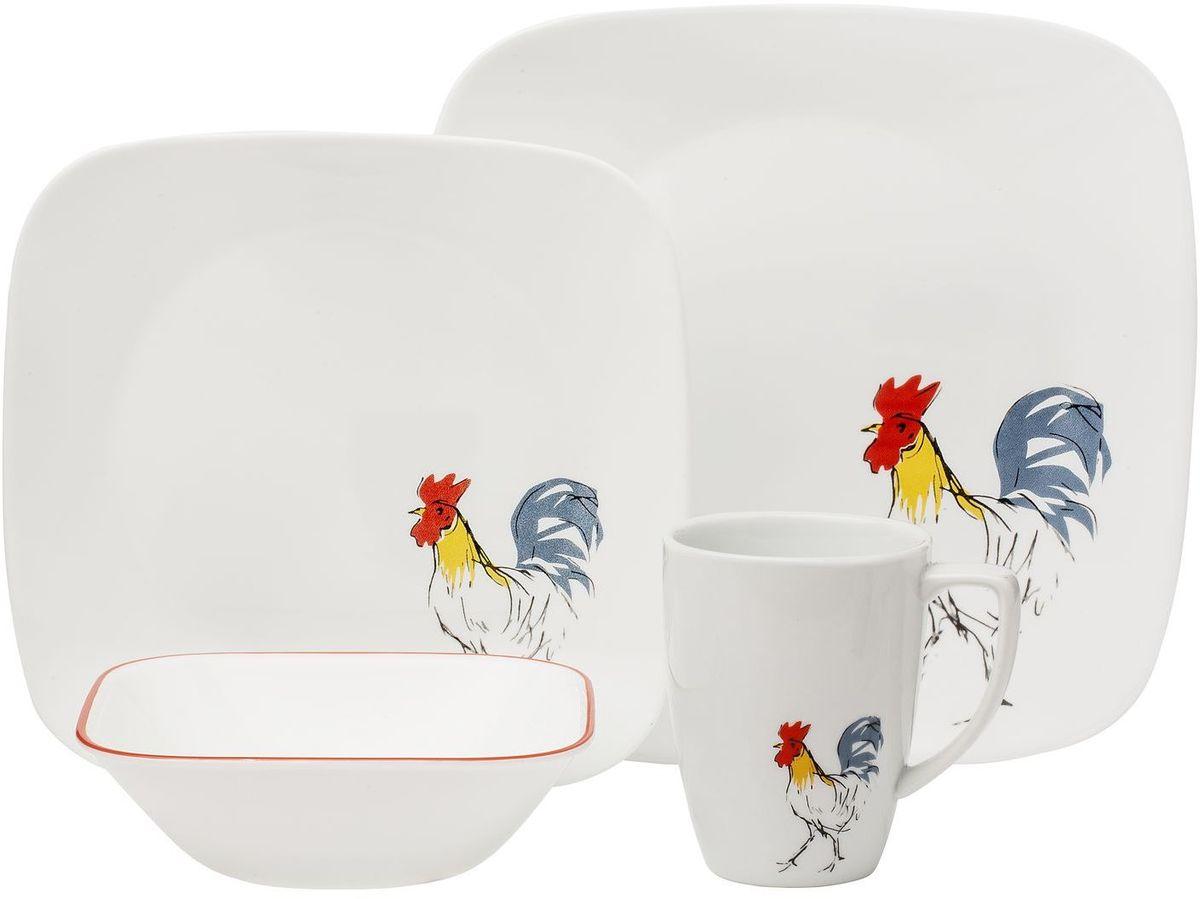 Набор посуды Corelle Country Dawn, цвет: белый, 16 предметов. 1119413 corelle тарелка обеденная splendor 27 см 1108512 corelle