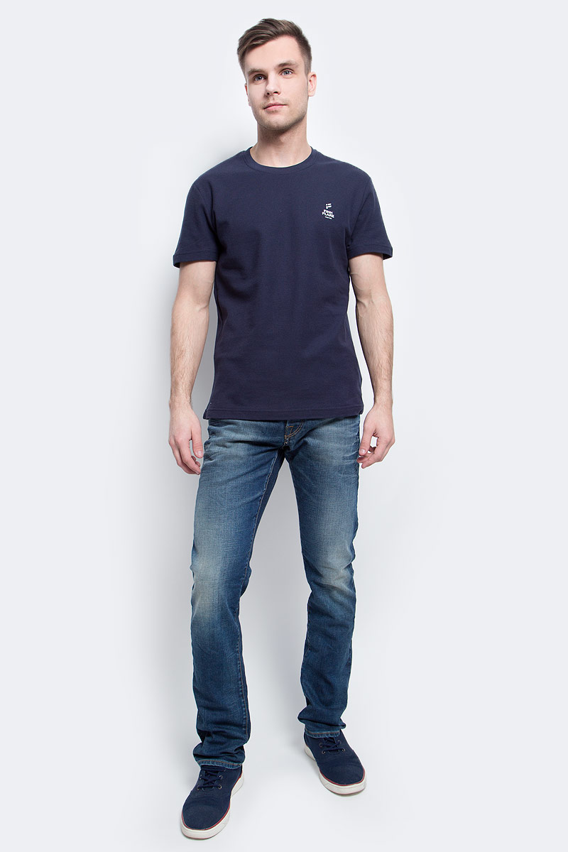 Футболка мужская Finn Flare, цвет: темно-синий. S17-21023_101. Размер XXL (54) рубашка мужская levi s® цвет синий красный белый 6581602170 размер xxl 54
