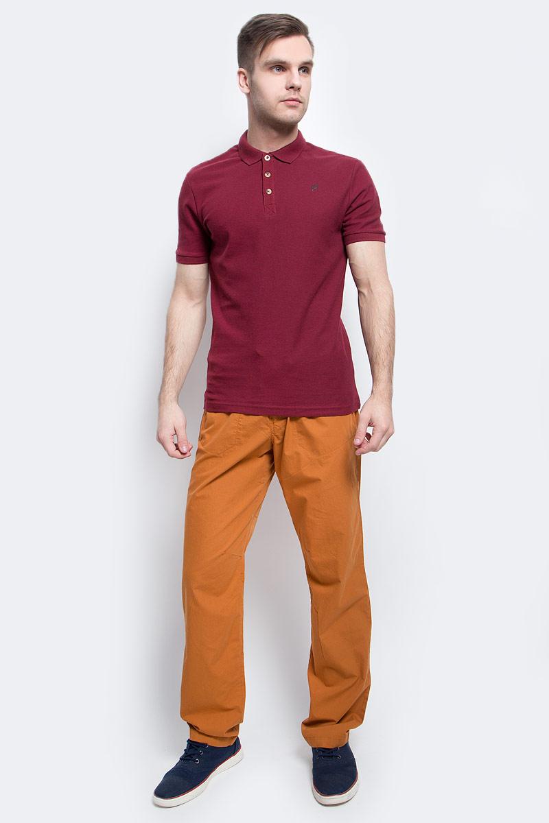 Поло мужское Finn Flare, цвет: вишневый. S17-21024_304. Размер XL (52)S17-21024_304Поло мужское Finn Flare выполнено из натурального хлопка. Модель с отложным воротником и короткими рукавами.