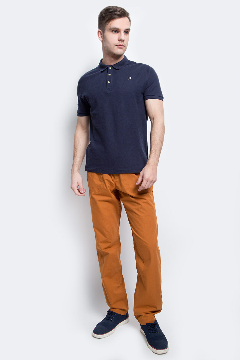 Поло мужское Finn Flare, цвет: темно-синий. S17-21024_101. Размер XL (52)S17-21024_101Поло мужское Finn Flare выполнено из натурального хлопка. Модель с отложным воротником и короткими рукавами.