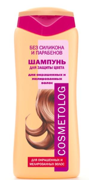 Cosmetolog Шампунь Для Защиты Цвета для окрашенных и мелированных волос, 250 мл360104После окрашивания защитный слой волоса ослабевает и повреждается,из-за этого волосы быстро тускнеют и теряют цвет. Шампунь специально разработан для окрашенных, тонированных и мелированных волос, защищает и усиливает яркость цвета волос, придает им мягкость и сияющий блеск. Деликатная моющая основа тщательно очищает волосы от загрязнений. Формула, обогащенная токоферолом (витамином Е), защищает цвет окрашенных волос от разрушительного действия свободных радикалов, индуцируемых ультрафиолетом солнечного света. Двойной комплекс кондиционирующих агентов и свободные аминокислоты восстанавливают структуру волоса, создают защитный слой по всей длине, блокируют молекулы красителя в структуре волоса, помогая сохранить живой глубокий цвет и блеск. После использования шампуня волосы легко расчесываются, становятся гладкими, блестящими и шелковистыми.