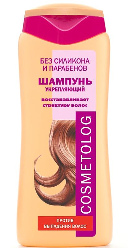 Cosmetolog Шампунь Укрепляющий против выпадения волос, 250 мл360107Шампунь предназначен для ослабленных волос, характерные признаки которых - тусклость, ломкость, выпадение. Такие волосы имеют поврежденную кутикулу и недостаточное питание волосяной луковицы. Моющая основа мягко, но тщательно очищает волосы и кожу головы. Д-пантенол глубоко увлажняет волосы. Деликатный кондиционирующий агент восстанавливает поверхностную структуру волоса, создавая защитный слой по всей длине волоса, склеивая секущиеся кончики. Перец, вызывая гиперемию, улучшает питание волосяной луковицы, амасло цубаки (камелии японской) укрепляет волосяные фолликулы, препятствует выпадению волос, обладает антистрессовым действием на кожу головы, способствует удлинению фазы роста волоса. Волосы становятся сильными и прочными, приобретают здоровый естественный блеск и шелковистость.