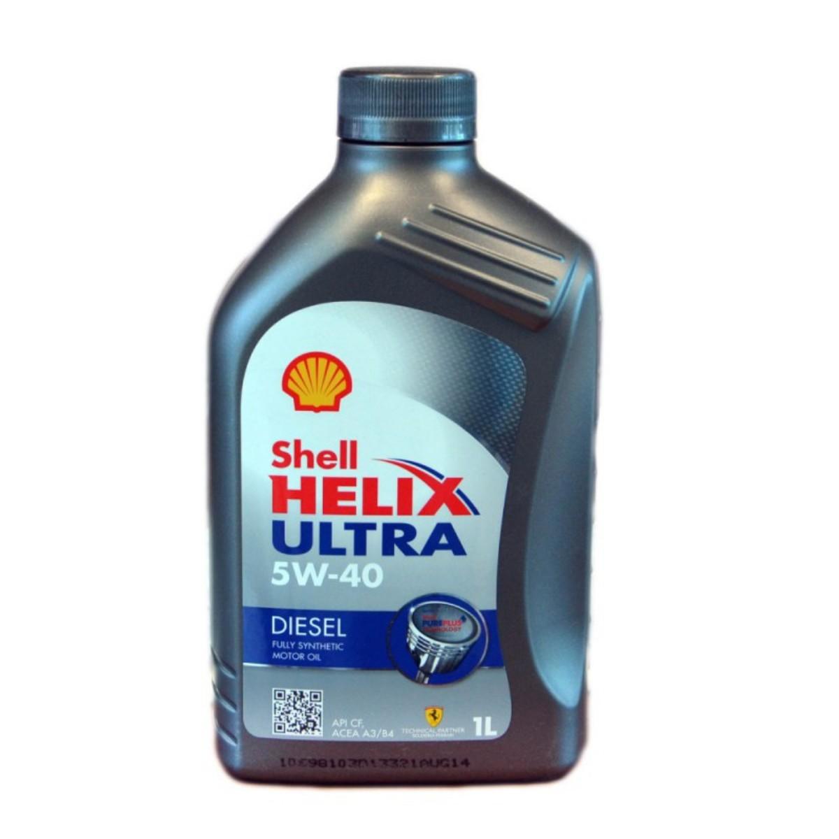 Моторное масло Shell Helix Ultra Diesel 5w40 CF, синтетика, 1 л550040552Полностью синтетическое моторное масло для современных дизельных двигателей, созданное на основе уникальной технологии Shell PurePlus. Разработано для двигателей с турбонаддувом, с промежуточным охлаждением, с прямым впрыском топлива.Допуски и одобрения BMW LL-01, [Fiat 9.55535-Z2], MB-Approval 226.5, MB-Approval 229.5, Renault RN0710, VW 505.00