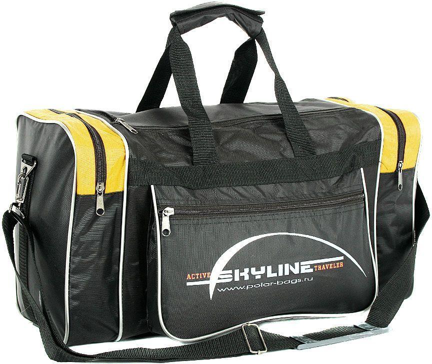 Сумка спортивная Polar Нейлон, цвет: черный, желтый, 23 л. 60096009Вместительная спортивная сумка Polar изготовлена из прочного материала. Основное отделение на застежке-молнии. У сумки имеются боковые карманы и два кармана на передней части. Изделие оснащено двумя удобными текстильными ручками и съемным текстильным плечевым ремнем регулируемой длины. Эта сумка идеально подойдет для спорта и отдыха.