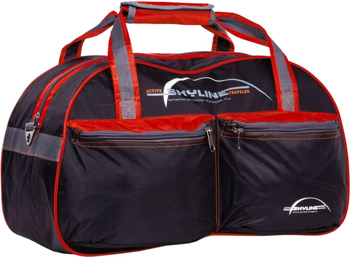 Сумка спортивная Polar Скайлайн, цвет: черный, красный, серый, 53 л. П05/6 сумка спортивная мужская adidas cvrt 3s duf m цвет черный 37 л cg1533