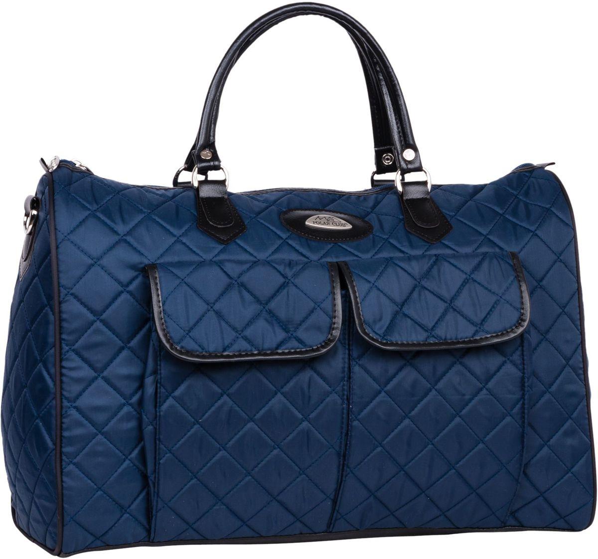 Сумка дорожная Polar Инесса, цвет: синий, 36 л. П7081П7081Вместительная дорожная сумка Polar Инесса выполнена из полиэстера с водоотталкивающей пропиткой. Внутри дополнительный карман для документов. Снаружи - три кармана (на внешней и внутренней стороне сумки) для мелких предметов. Ручки выполнены из высокопрочного кожзаменителя. В комплект входит съемный плечевой ремень.