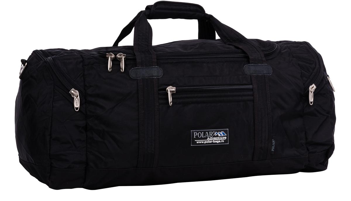 Сумка спортивная Polar, цвет: черный, 53 л. П808А-05П808А-05Спортивная сумка Polar выполнена из полиэстера. Сумка имеет одно большое отделение скармашком на молнии под документы. Снаружи расположены два кармашка на молнии побокам и один карман на молнии спереди. Изделие оснащено двумя удобными текстильнымиручками и съемным плечевым ремнем.