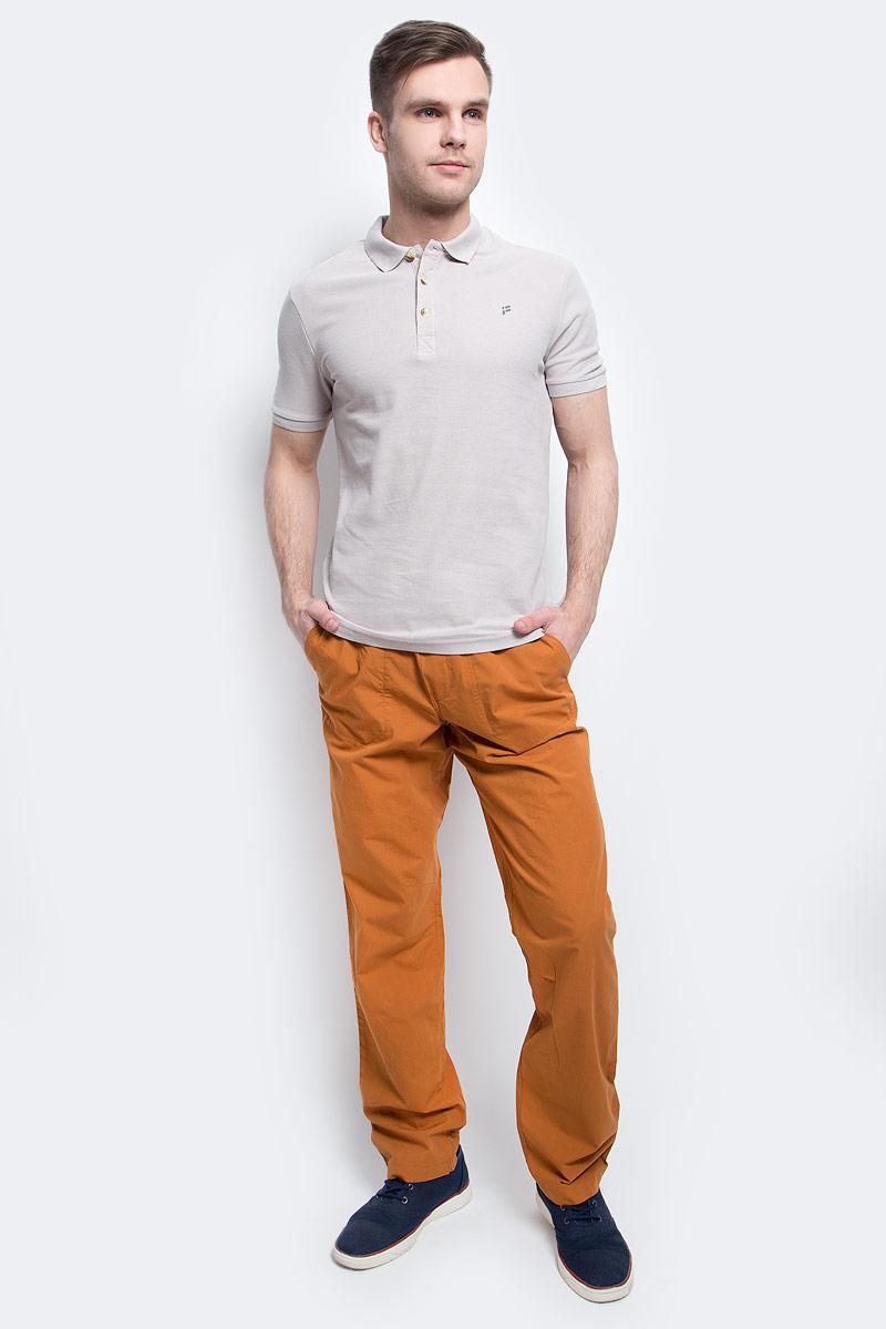 Поло мужское Finn Flare, цвет: светло-бежевый. S17-21024_702. Размер M (48)S17-21024_702Поло мужское Finn Flare выполнено из натурального хлопка. Модель с отложным воротником и короткими рукавами.