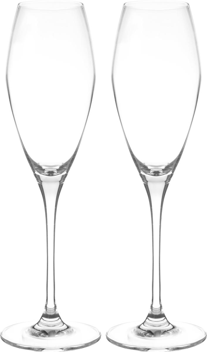 """Набор """"Wilmax"""", изготовленный из кристально чистого стекла, состоит из двух бокалов.  Изделия предназначены для подачи игристых вин. Они сочетают в себе элегантный дизайн и  функциональность.Набор бокалов """"Wilmax"""" прекрасно оформит праздничный стол  и создаст приятную атмосферу за романтическим ужином.Можно мыть в  посудомоечной машине.Диаметр бокала по верхнему краю: 5 см.Диаметр  основания: 7,5 см.Высота бокала: 25,5 см."""