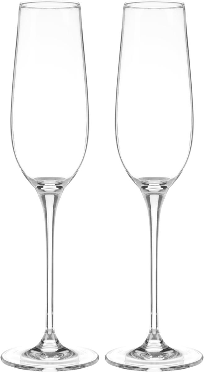 """Набор """"Wilmax"""", изготовленный из кристально чистого стекла, состоит из двух бокалов.  Изделия предназначены для подачи игристых вин. Они сочетают в себе элегантный дизайн и  функциональность.Набор бокалов """"Wilmax"""" прекрасно оформит праздничный стол  и создаст приятную атмосферу за романтическим ужином.Бокалы можно мыть в  посудомоечной машине.Диаметр бокала по верхнему  краю: 4,5 см.Диаметр основания: 7 см.Высота бокала: 26,5 см."""