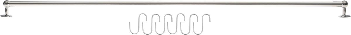 Рейлинг Mayer & Boch, с 6 крючками, длина 100 см3421Рейлинг Mayer & Boch выполнен из высококачественного хромированного железа. Монтируется на стену и позволяет размещать на нем подвесные полки, крючки, держатели и различные кухонные предметы. Благодаря стильному современному дизайну рейлинг впишется в интерьер любой кухни. В комплект к рейлингу входят аксессуары для крепления и 6 крючков.Длина: 100 см.