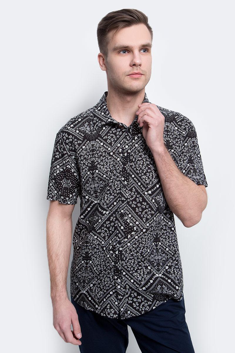 цена на Рубашка мужская Finn Flare, цвет: черный. S17-24020_200. Размер L (50)