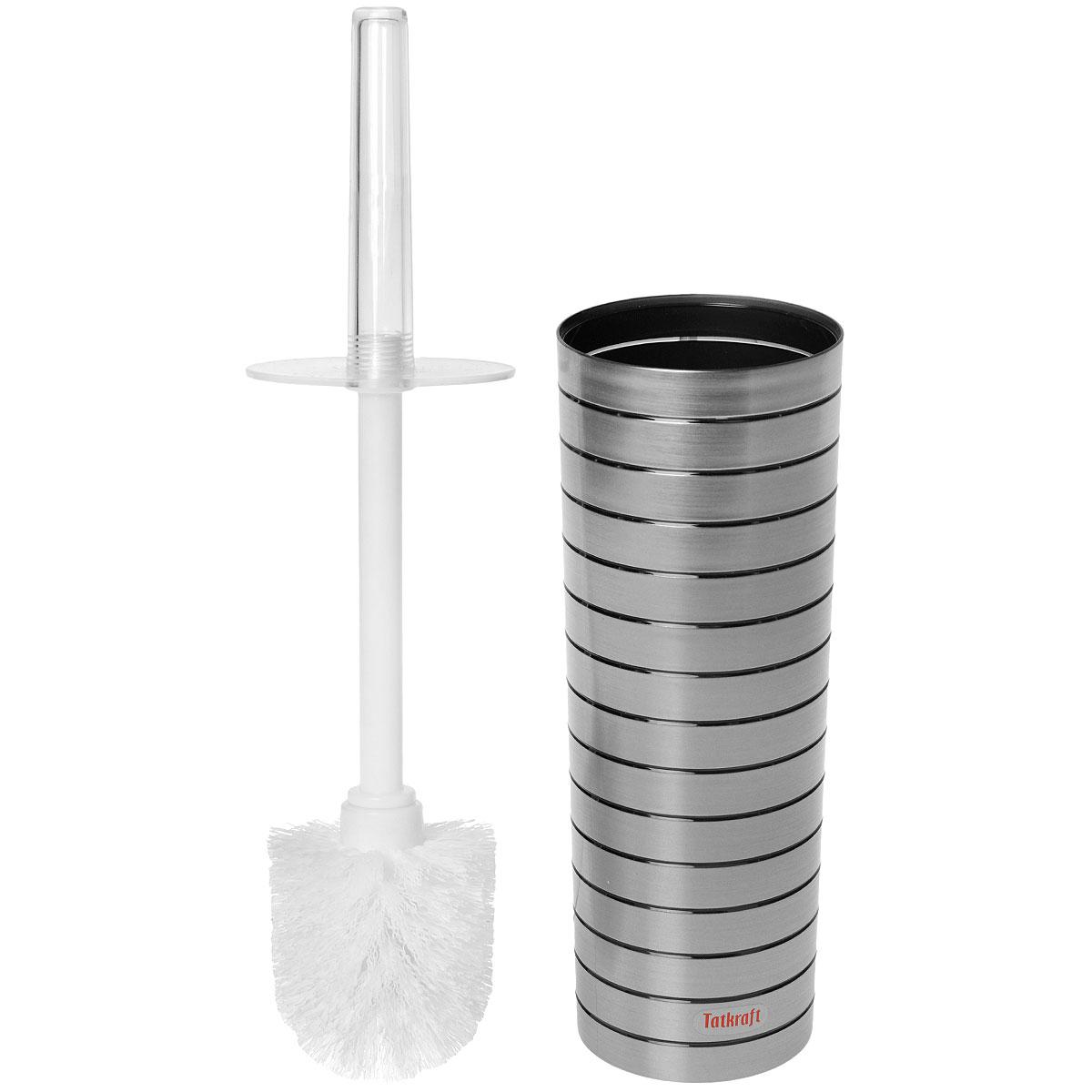 """Гарнитур для туалета Tatkraft """"King Tower"""" включает в себя ершик и подставку. Ершик с жестким ворсом имеет  удобную ручку, которая выполнена из прозрачного акрила. Подставка изготовлена из акрила с серебристыми  вставками. Ершик полностью вставляется в подставку и закрывается крышкой, что обеспечит гигиеничность  использования и облегчит уход.  Ершик отлично чистит поверхность, а грязь с него легко смывается водой.    Длина ершика: 37 см.  Длина ворса: 2,5 см.  Высота подставки: 26 см.  Диаметр подставки: 9,5 см."""