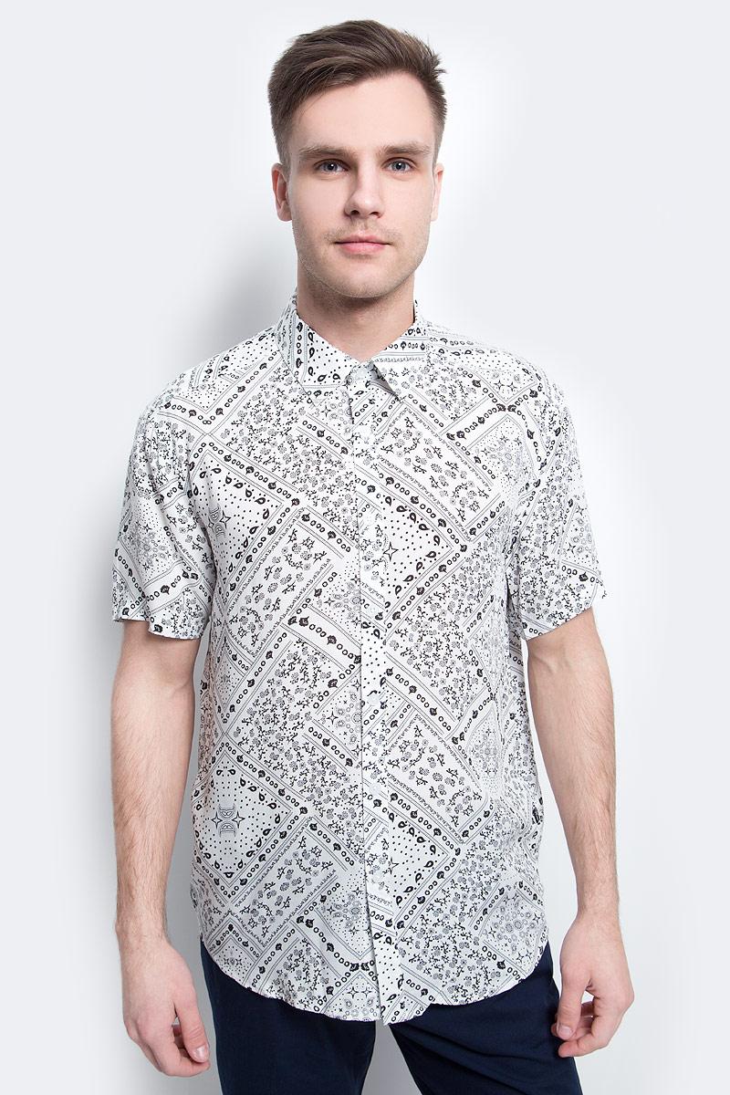 цена на Рубашка мужская Finn Flare, цвет: белый. S17-24020_201. Размер XL (52)