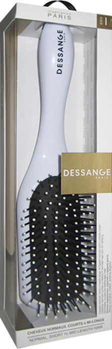 Dessange Щетка массажная, прямоугольная, для нормальных волос, коротких и средней длины, цвет: белый