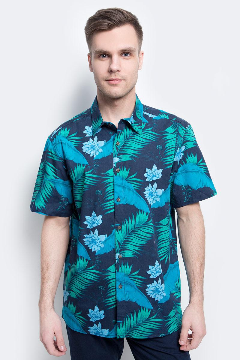 цена на Рубашка мужская Finn Flare, цвет: темно-синий. S17-24014_101. Размер L (50)