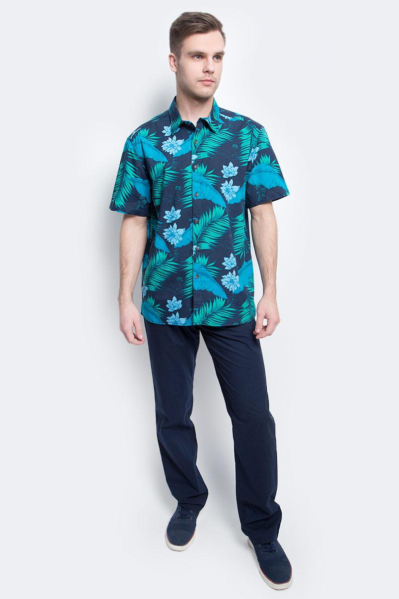 Рубашка мужская Finn Flare, цвет: темно-синий. S17-24014_101. Размер XXL (54)S17-24014_101Рубашка мужская Finn Flare выполнена из натурального хлопка. Модель с отложным воротником и короткими рукавами застегивается на пуговицы.