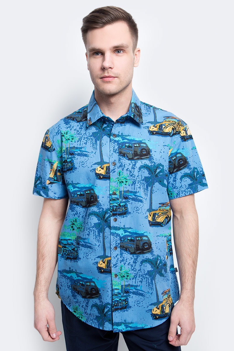 цена на Рубашка мужская Finn Flare, цвет: темно-синий. S17-24019_101. Размер L (50)