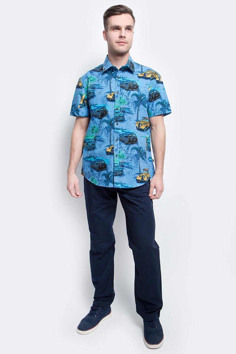 Рубашка мужская Finn Flare, цвет: темно-синий. S17-24019_101. Размер XXXL (56)S17-24019_101Рубашка мужская Finn Flare выполнена из хлопка. Модель с отложным воротником и короткими рукавами застегивается на пуговицы.