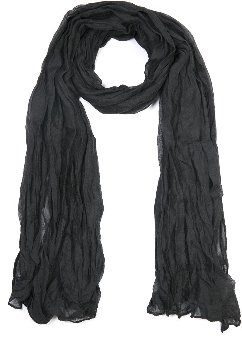 Шарф женский Mitya Veselkov, цвет: черный. SCARF2-BLACK. Размер 60 см x 80 см