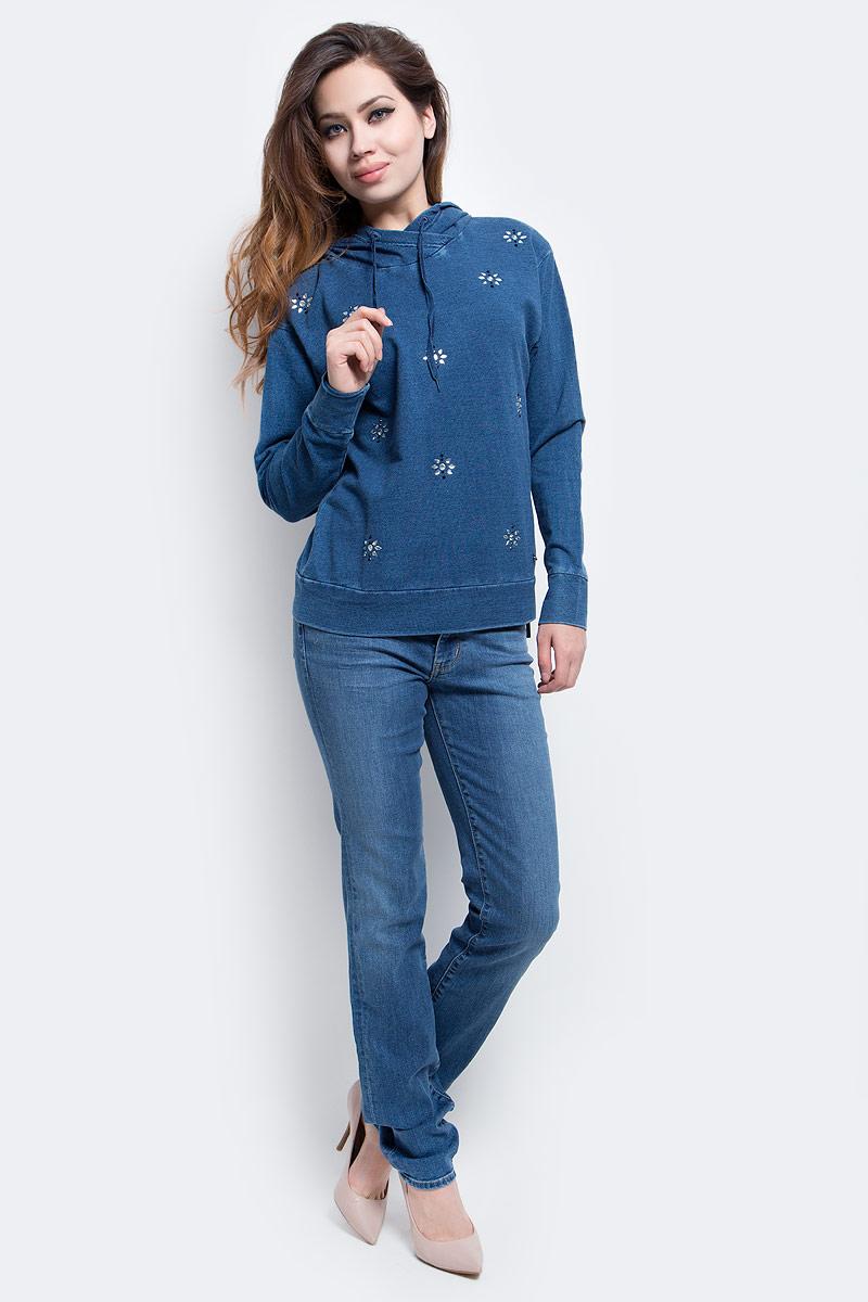 Толстовка женская Finn Flare, цвет: серо-голубой. B17-32033_105. Размер L (48)B17-32033_105Толстовка женская Finn Flare выполнена из вискозы и эластана. Модель с капюшоном и длинными рукавами.