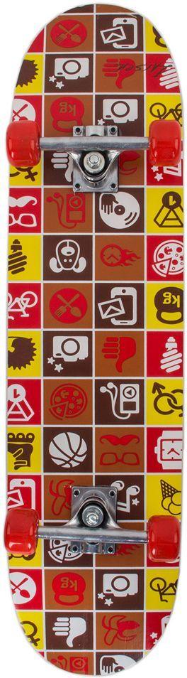 Скейтборд Larsen City 3, цвет: желтый, коричневый, красный, дека 79 см х 20 см скейтборд larsen junior 3 цвет синий салатовый дека 51 см х 15 см