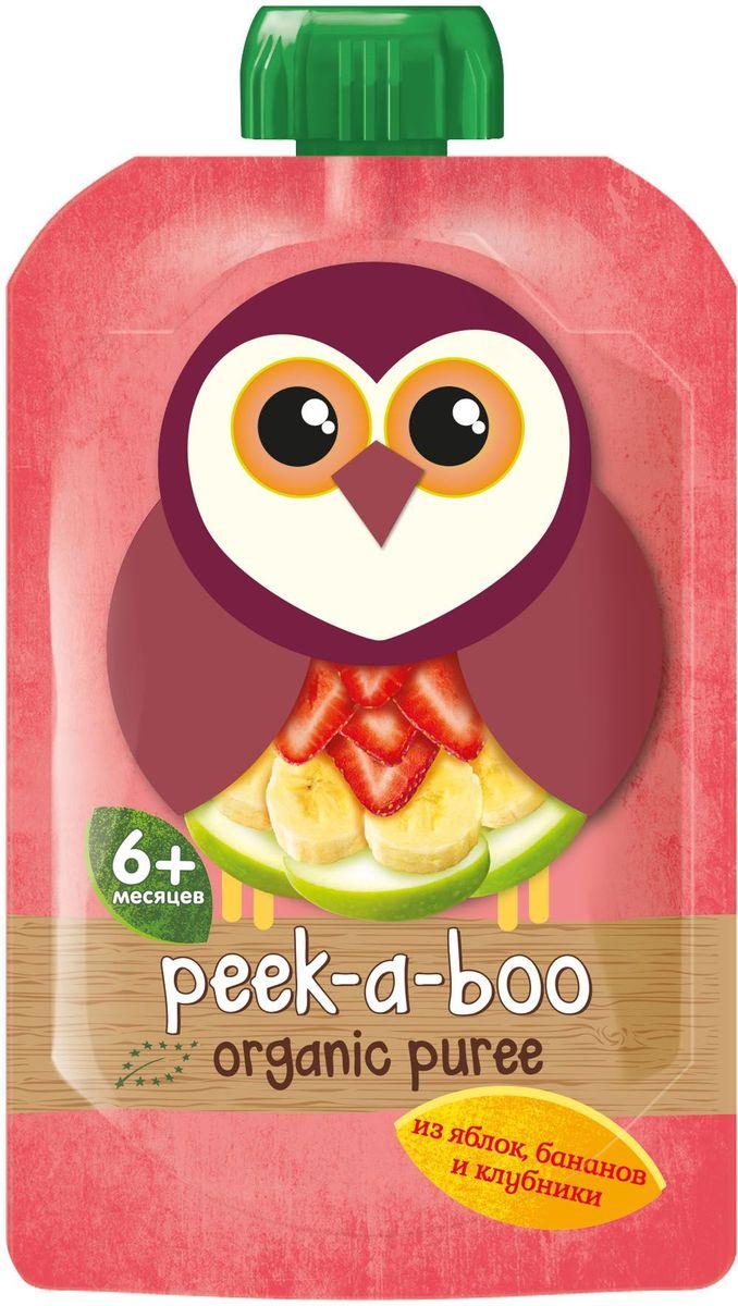 Peek-a-boo пюре органическое яблоко, банан, клубника, с 6 месяцев, 113 г peek a boo пюре яблоко малина черника с 6 месяцев 113г