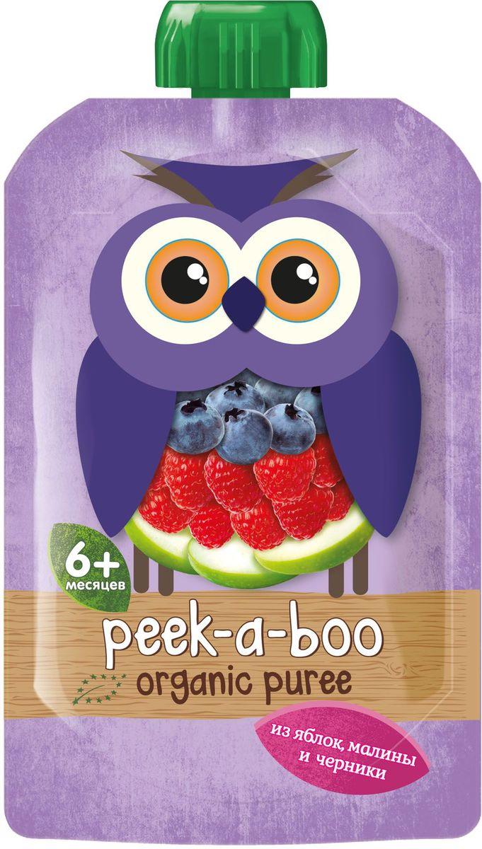 Peek-a-boo пюре органическое яблоко, малина, черника, с 6 месяцев, 113 г peek a boo пюре яблоко малина черника с 6 месяцев 113г