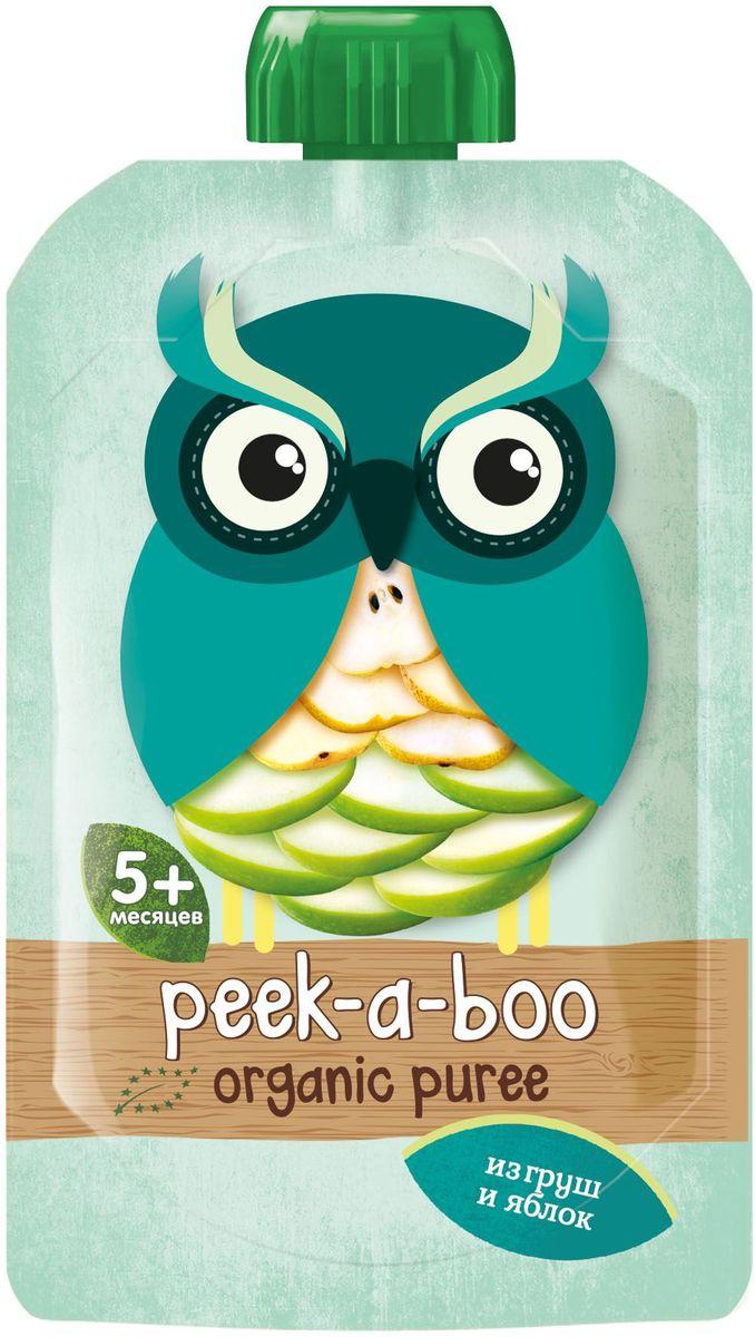 Peek-a-boo пюре органическое яблоко, груша, с 4 месяцев, 113 г peek a boo пюре яблоко малина черника с 6 месяцев 113г