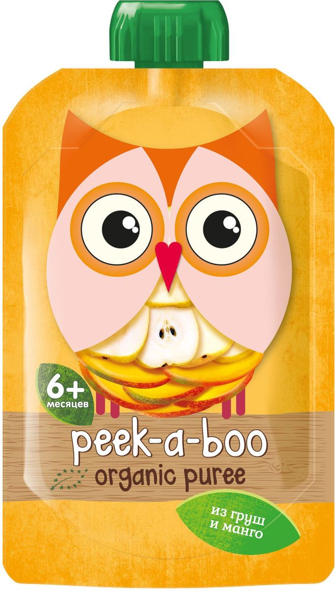 Peek-a-boo пюре органическое груша, манго, с 6 месяцев, 113 г peek a boo пюре яблоко малина черника с 6 месяцев 113г
