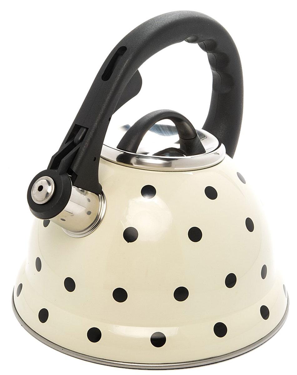 Чайник Mayer & Boch Горох, со свистком, цвет: белый, черный, серебристый, 2,8 л24976Чайник со свистком Mayer & Boch изготовлен из высококачественной нержавеющей стали, что обеспечивает долговечность использования. Носик чайника оснащен откидным свистком, звуковой сигнал которого подскажет, когда закипит вода. Свисток открывается нажатием кнопки на фиксированной ручке, сделанной из пластика. Чайник Mayer & Boch - качественное исполнение и стильное решение для вашей кухни. Подходит для всех типов плит, включая индукционные. Можно мыть в посудомоечной машине. Высота чайника (с учетом ручки и крышки): 24,5 см.Высота чайника (без учета ручки и крышки): 13 см.Диаметр чайника (по верхнему краю): 10 см.Диаметр основания: 22 см.Диаметр индукционного диска: 14,5 см.