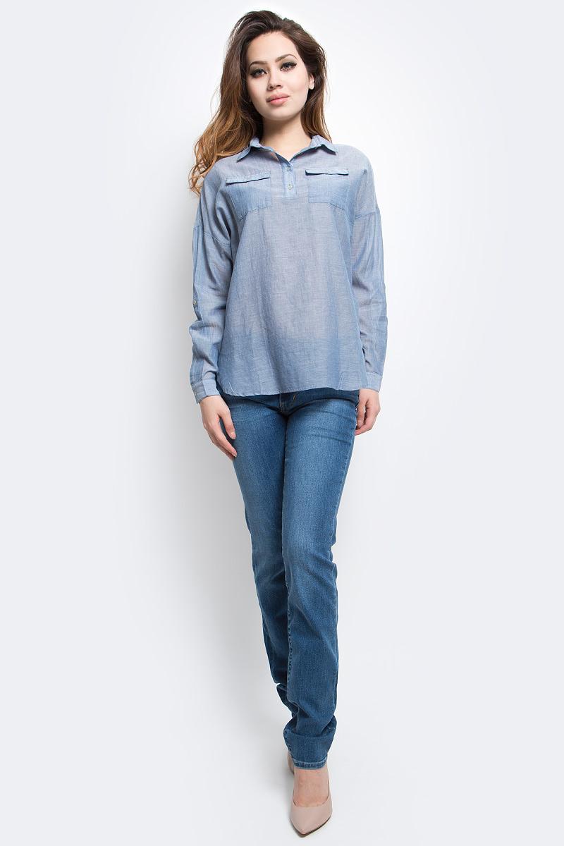 Блузка женская Finn Flare, цвет: серо-голубой. S17-14077_105. Размер S (44)S17-14077_105Блузка женская Finn Flare выполнена из 100% хлопка. Модель с отложным воротником и длинными рукавами застегивается на пуговицы.