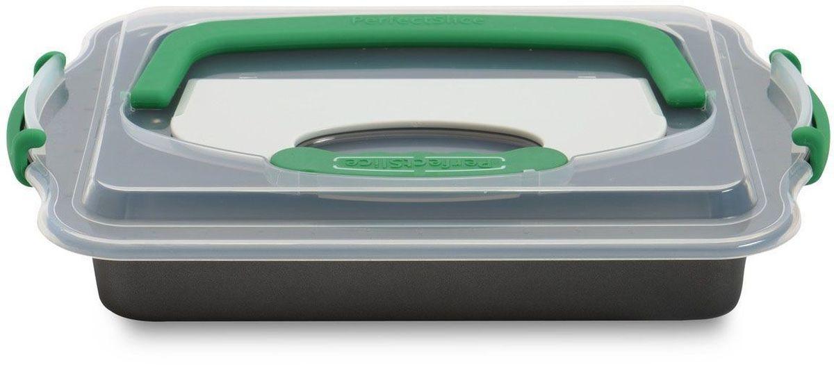 Противень BergHOFF Perfect Slice, прямоугольный, с крышкой и инструментом для нарезания, 36 х 27 х 5 см. 11000521100052Прямоугольный противень BergHOFF Perfect Slice выполнен из высокоуглеродистой стали сантипригарным покрытием FernoGreen. Антипригарное покрытие FernoGreen позволяет легко извлекать продукт из формы и несодержит ПФОК, кадмия и свинца. Покрытие устойчиво к высоким температурам. Ручки спроектированы для безопасного и удобногозахвата.В комплект входит пластиковая крышка и инструмент для нарезания. Крышка надежно закрываетформу, а ее большая ручка позволяет переносить ее с комфортом. Инструмент для нарезанияинтегрирован в крышку.Противень имеет разметку для контроля за размерами порций.Не использовать на плите и других прямых источниках тепла. Рекомендуется мыть вручную.