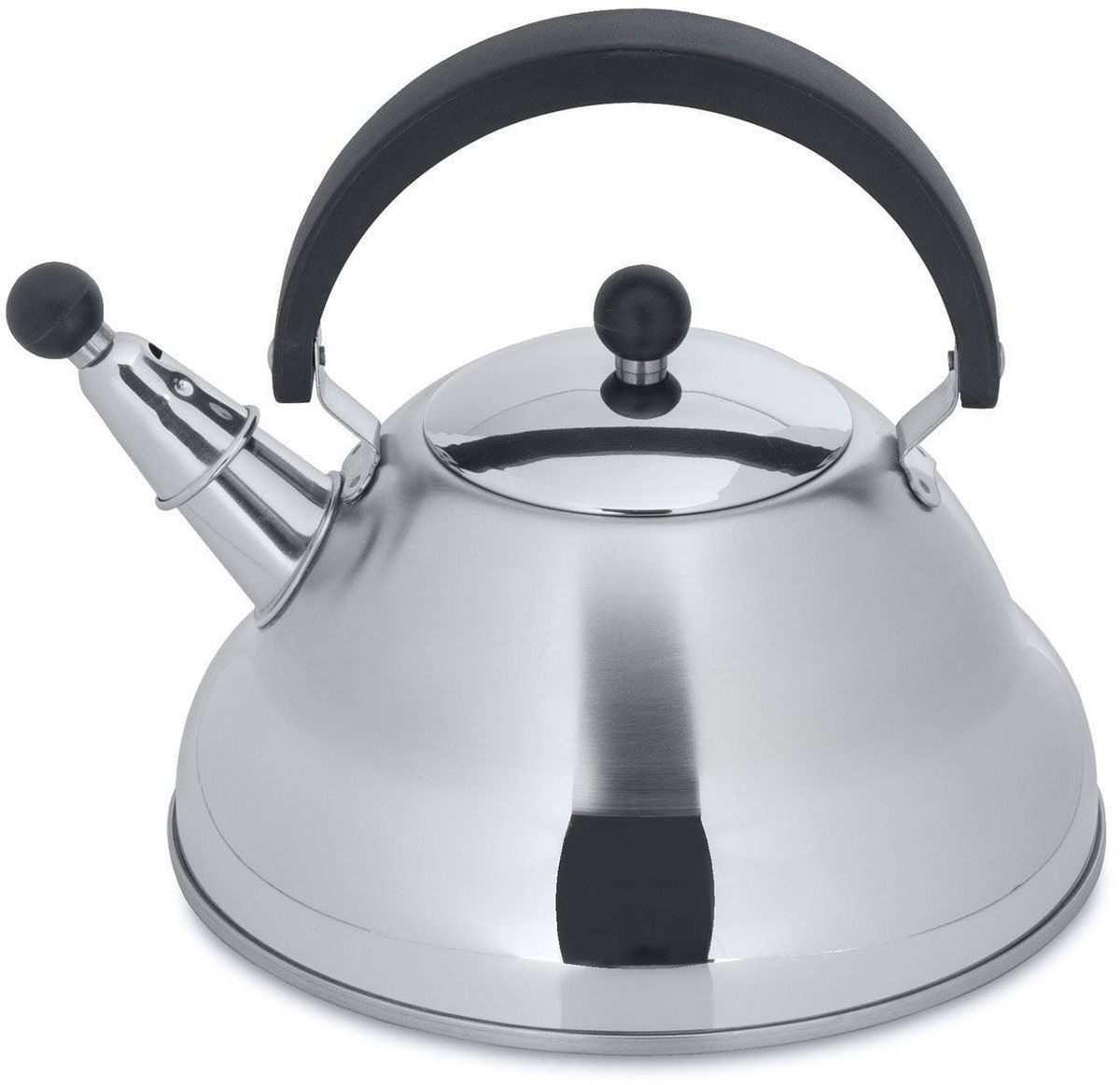 Чайник BergHOFF Studio. Melody, со свистком, 2,6 л1104133Чайник BergHOFF Studio. Melody изготовлен из высококачественной нержавеющей стали 18/10, которая обладает бактериостатическими свойствами. Эргономичная ручка из бакелита делает использование чайника очень удобным и безопасным. Носик чайника имеет насадку-свисток, что позволит контролировать процесс подогрева или кипячения воды. Термокапсульное дно при кипячении сохраняет все полезные свойства воды.Подходит для всех типов плит, включая индукционные. Можно мыть в посудомоечной машине.