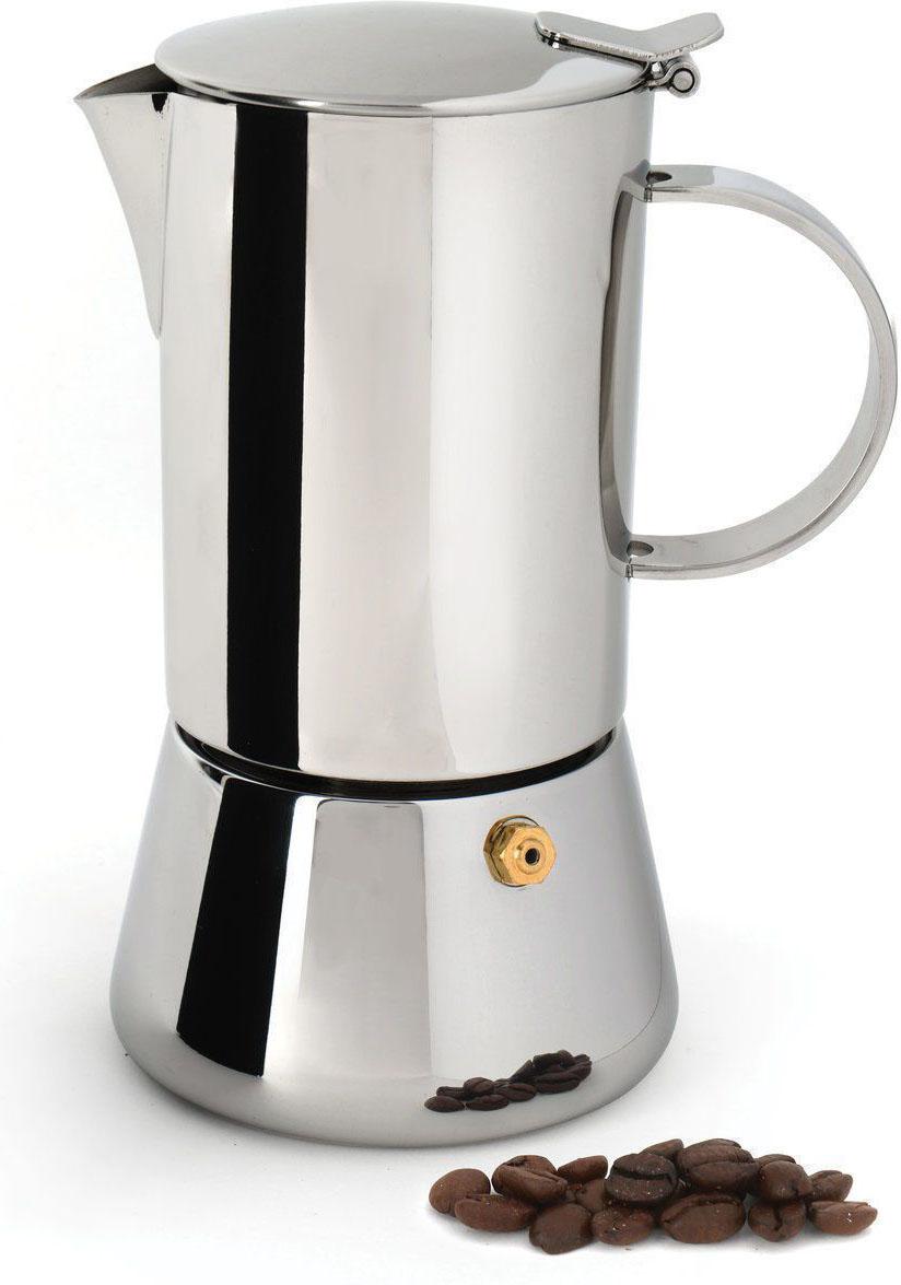 Кофеварка BergHOFF Studio, гейзерная, 0,6 л. 11069181106918Гейзерная кофеварка BergHOFF Studio поможет быстро приготовить вкусный и ароматный кофе. Корпус кофеварки, выполненный из качественной нержавеющей стали, имеет снаружи полированную поверхность. Кофеварка имеет специальный предохранительный клапан давления, а также легкую в использовании и безопасную систему закрывания крышки. Гейзерная кофеварка очень проста в использовании. Открутите нижнюю часть кофеварки и снимите фильтр. В нижний отсек налейте воды ниже уровня предохранительного клапана. Установите фильтр на место, а затем насыпьте в него молотый кофе. Закрутите обратно верхнюю часть. Поставьте кофеварку на небольшой огонь. После закипания воды пар, поднимаясь через молотый кофе, будет конденсироваться в верхнем отсеке. Когда верхний отсек наполнится, снимите кофеварку с огня. Вы можете смешивать разные сорта кофе по своему вкусу. В любой момент, когда вы захотите насладиться запахом и вкусом ароматного кофе, рядом с вами будет ваш верный помощник - гейзерная кофеварка Studio.