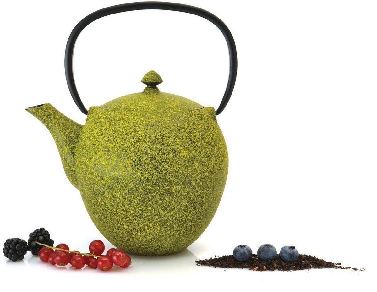 Чугунный чайник BergHOFF Studio, цвет: лайм, 1,0 л1107045Чайник Studio изготовлен из чугуна, благодаря которому сохраняет чай дольше горячим. Кроме того, благодаря равномерному распределению тепла в чугуне, улучшается натуральный вкус чайных листьев. Мелкосетчатый фильтр позволяет наслаждаться чаем без докучливых чаинок в Вашей чашке. Внутреннее покрытие из прочной эмали обеспечивает защиту от коррозии. Рекомендована ручная мойка. Упакован в подарочную коробку.
