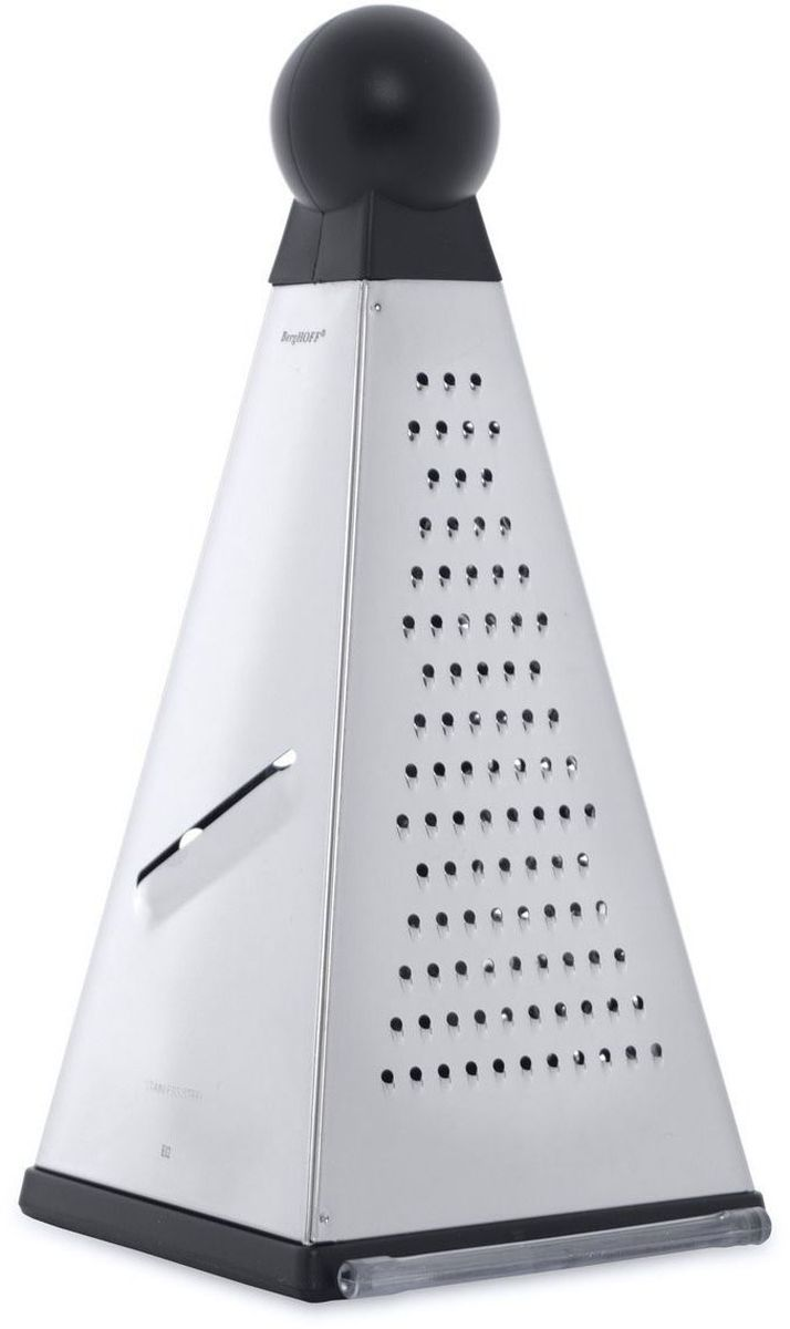 Терка пирамидальная Studio 10х23,5см , цвет: металлик-черный1108384Терка пирамидальная Studio 10х23,5см выполнена из высококачественной нержавеющей стали. Имеет выдвижную пластиковую подставку, что позволяет натерый продукт сохранить внутри терки. Можно мыть в посудомоечной машине. Упакована в подарочную коробку. Нержавеющая сталь