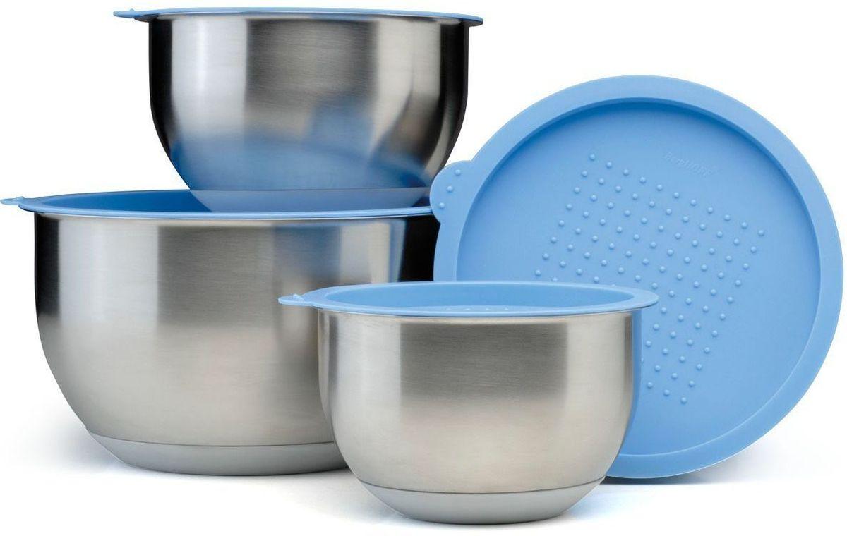 Набор мисок BergHOFF Orion, с крышками, 8 предметов1109268Набор BergHOFF Orion состоит из 4 мисок, выполненных из нержавеющей стали. Изделия снабжены пластиковыми крышками. Миски имеют разный размер, они могут использоваться для различных нужд на кухне: приготовления, хранения и сервировки. Плотно закрывающиеся крышки делают их также удобными для транспортировки еды. Нескользящее дно из термопластичной резины обеспечивает их устойчивость на рабочей поверхности или столе.Набор можно мыть в посудомоечной машине и использовать для хранения пищи в холодильнике. Диаметр мисок (по верхнему краю): 16 см; 18 см; 20 см; 24 см.