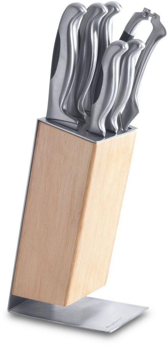 Набор ножей BergHOFF Studio, 7 предметов1307169Набор BergHOFF Studio придется по душе каждой хозяйке. Предметы набора выполнены извысококачественной нержавеющей стали. В набор входят: поварской нож, нож для хлеба, нож для мяса, нож для очистки кожуры,универсальный нож, ножницы для разделки птицы, подставка. Предметы набора размещаются в стильной подставке, которая выполнена извысококачественной древесины и нержавеющей стали.Стильный современный дизайн украсит интерьер вашей кухни.Материал рукоятки: нержавеющая сталь, полиформальдегид. Длина поварского ножа: 33 см. Длина лезвия поварского ножа: 20 см. Длина ножа для хлеба: 32 см. Длина лезвия ножа для хлеба: 19 см. Длина ножа для мяса: 33 см. Длина лезвия ножа для мяса: 19,5 см. Длина универсального ножа: 23,5 см. Длина лезвия универсального ножа: 12 см. Длина ножа для очистки: 20 см. Длина лезвия ножа для очистки: 9 см. Длина ножниц для разделки птицы: 25 см. Длина лезвий ножниц для разделки птицы: 9 см. Размер подставки: 16,5 см х 9 см х 24 см.