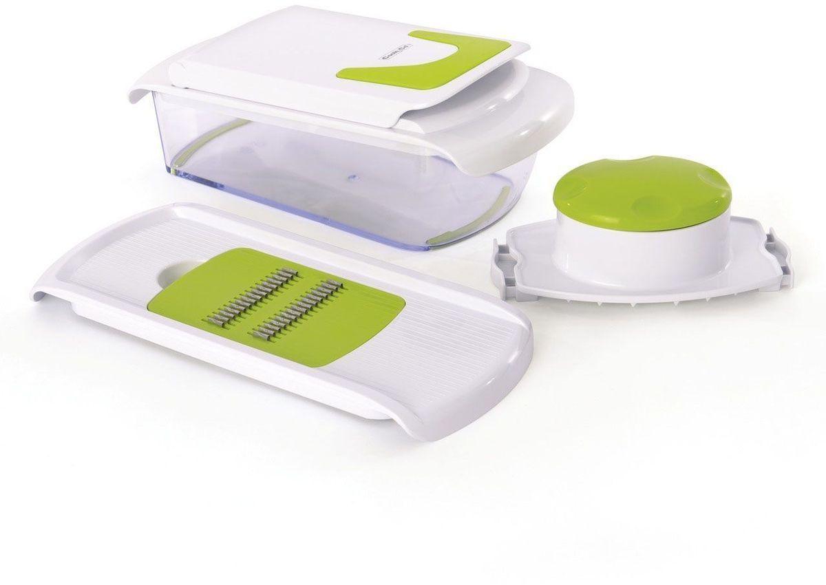 Многофункциональный набор для нарезки Cook&Co, цвет: белый, зеленый. 28001072800107Многофункциональный набор для нарезки Cook&Co позволяет нарезать и измельчать овощи. Встроенная крышка-мандолина для нарезания ломтиками, кубиками и соломкой, натирания и измельчения. Измельчайте, нарезайте и натирайте овощи и сыр прямо в миску. 7 съемных лезвий включены.Миска - 1,2 л. Ручка с удобным захватом. Имеет нескользящее основание. Подходит для мытья в посудомоечной машине.