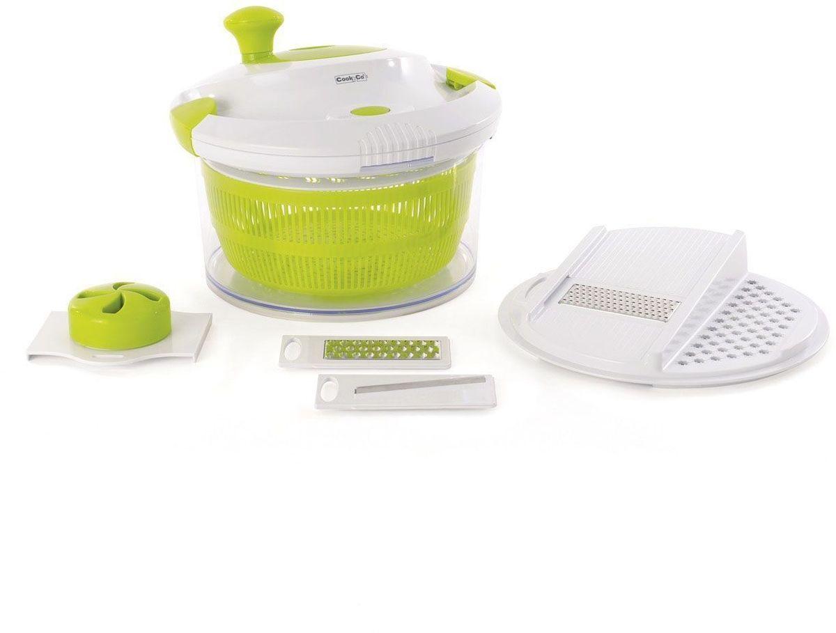 Набор для приготовления салата Cook&Co (миска, сушилка, терка)2800112Набор Cook&Co предназначен для сушки и приготовления зелени, фруктов и овощей. Изделие позволяет добавлять и сливать воду без удаления крышки. Легко вращающаяся ручка сушилки и зажимы на крышке обеспечивают безопасную сушку. Прозрачное основание может быть использовано для сервировки. Имеется кнопка быстрой остановки. Нескользящее дно.Объем миски: 4,7 л.