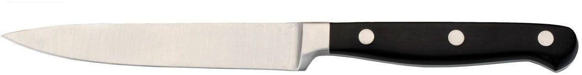 Нож универсальный BergHOFF Forged, длина лезвия 13 см2800362Универсальный нож BergHOFF Forged выполнен из высококачественной нержавеющей стали, устойчив к пятнам и коррозии. Используется для нарезки продуктов. Таким ножом удобно сделать ровный разрез всего одним движением. Ручка с тройной клепкой обеспечивают идеальный баланс и безопасность для рук. Рекомендуется мыть вручную. Общая длина ножа: 25 см.