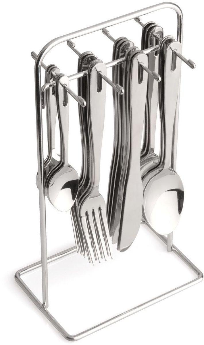 Набор столовых приборов BergHOFF Dune, цвет: металлик, 24 предмета2800560Набор столовых приборов BergHOFF Dune выполнен из высококачественной нержавеющей стали. В набор входит 24 предмета: 6 обеденных ножей, 6 обеденных ложек, 6 обеденных вилок, 6 чайных ложек и подставка. Приборы имеют удобные ручки с отверстием для подвешивания на подставку. Прекрасное сочетание свежего дизайна и удобство использования предметов набора придется по душе каждому. Предметы набора расположены на подставке из стали, подставка оснащена удобной ручкой для переноски.Набор столовых приборов BergHOFF Dune подойдет для сервировки стола, как дома, так и на даче и всегда будет важной частью трапезы, а также станет замечательным подарком.Длина ножей: 20,5 см.Длина ложек: 20 см.Длина вилок: 20 см.Длина чайных ложек: 13 см.Размер подставки: 13 см х 10 см х 27 см.