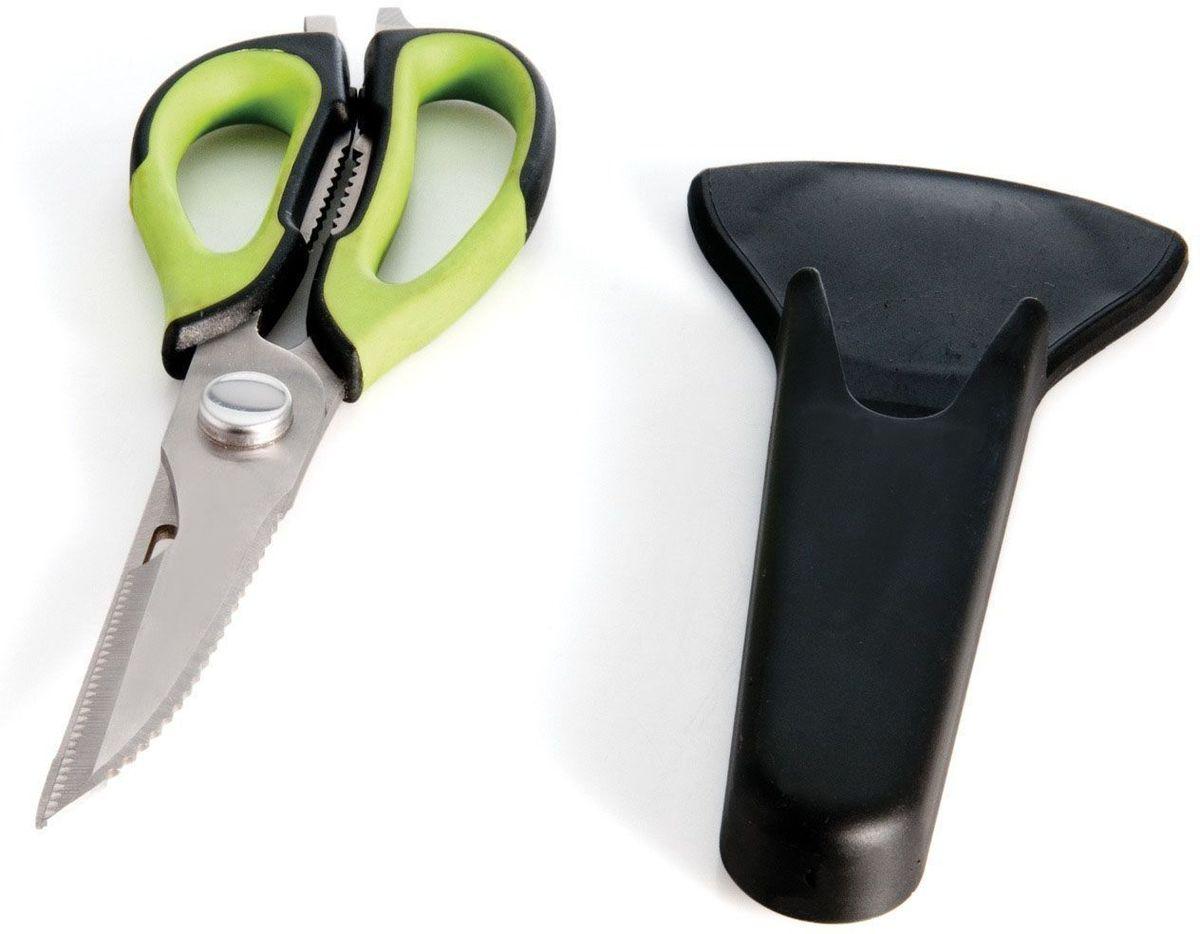 Ножницы кухонные BergHOFF Cook&Co, с магнитным держателем, цвет: черный, зеленый, длина лезвия 9 см2801802Ножницы BergHOFF Cook&Co выполнены из нержавеющей стали. Ручки изготовлены из полипропилена с вставками из термопластичной резины, что обеспечивает безопасность и удобство работы. Ножницы - необходимая вещь на вашей кухне. Измельчить зелень для салата, разделать тушку курицы или утки, вскрыть пакет с молоком, срезать плавники у рыбы - все это намного проще и быстрее сделать не ножом, а ножницами. В комплекте - специальная магнитная подставка, которую можно разместить на холодильнике, что обеспечивает удобное хранение и безопасность. Рекомендуется мыть вручную.Длина ножниц: 23 см. Длина лезвия: 9 см. Размер чехла: 18,5 см х 8,9 см х 2 см.
